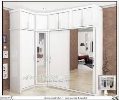 lemari baju model sudut minimalis xeon allia furniture