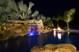 wonderful pools with waterfalls at night lighting on inspiration