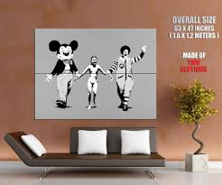 banksy mickey mouse mcdonalds clown street art wall print poster