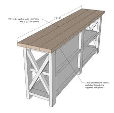 diy entryway table plans ana white build a rustic x console free and easy diy project and