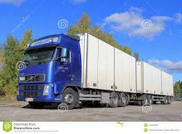trailer volvo blue volvo truck with full trailer editorial stock photo image