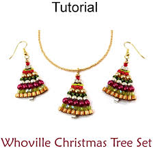 whoville christmas tree holiday necklace earrings set beading