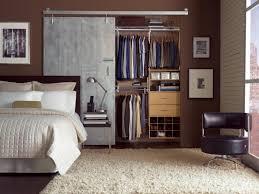 Indoor Closet Doors Bedroom Metal Sliding Closet Door Hanging On Metal Rails On Brown