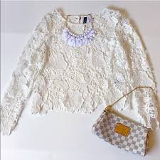 h u0026m ivory lace floral crochet top winter white blouse from