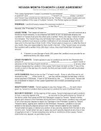 free nevada month to month rental agreement form pdf word
