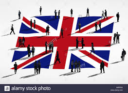 Flag People Silhouette Business People With Flag Of Uk Stock Photo Royalty