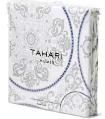 tahari luxury cotton blend shower curtain navy blue silver gray
