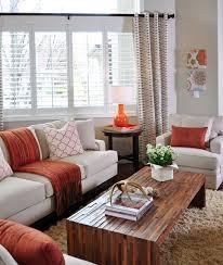 Burnt Orange Shag Rug Orange And Taupe Living Room By Judith Balis Shag Rug Linen Sofa