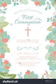 first communion baptism christening invitation card stock vector