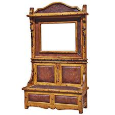 tooled leather hall tree storage bench mirror coat rack entryway