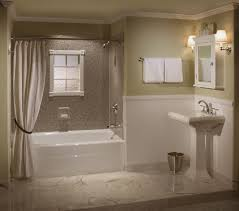 Bathroom Astounding Rectangular White Bathtub by Modern White Concrette Tub Using Beige Shower Curtain Combined