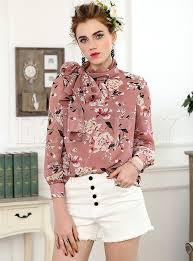 scarf blouse pink floral print scarf collar blouse ezpopsy com
