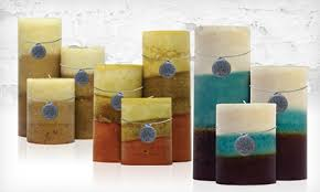 19 for a set of tricolored pillar candles groupon goods