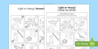 light or heavy activity sheet english polish measurement