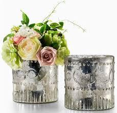 Silver Vases Green Wedding Reception Decor Pretty Silver Embellished Glass