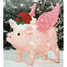lighted tinsel pig with hat and scarf yard