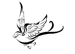 cheerful black line flying bird tattoo design tattooimages biz