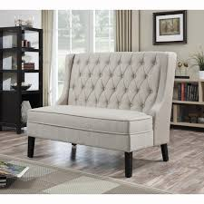 Upholstered Banquette Bench Bench Tufted High Back Bench Intended For Breathtaking Cream