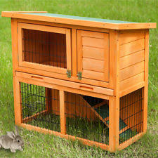 Rabbit Hutch With Detachable Run Guinea Pig Wooden Hutches With Run Ebay