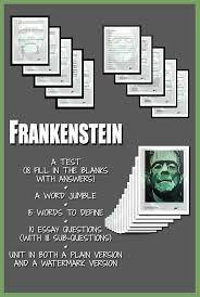 frankenstein study guide answer key 23 best frankenstein unit images on pinterest