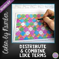 distribute and combine like terms color by number by middle