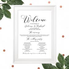 wedding program sign wedding program poster calligraphy style wedding program navy blue