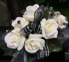 black and white corsage keepsake corsage crkp black silver and white in waldorf md