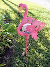 pink flamingo patio lights pink flamingo garden stake glass crackle solar light at garden sun light