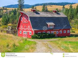 red barn with grey roof stock photo image 43524303