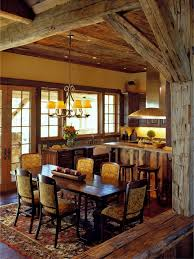 rustic pub table dining room with upholstered chairs distressed
