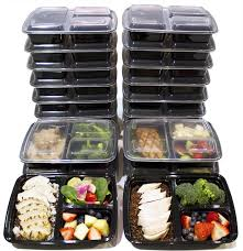 shop amazon com food storage amp organization sets 20 pack 3 compartment meal prep containers bpa free portion control bento boxes 39 oz