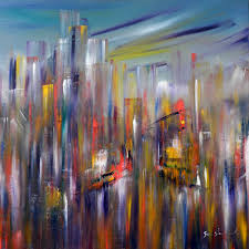 cityscape of new york painted in oil on canvas by sara sherwood