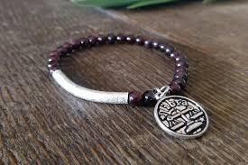 garnet gemstone bracelet images Garnet gemstone bracelet with libra charm jpg
