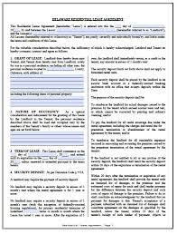 Free Lease Agreement Free Delaware Standard Residential Lease Agreement Pdf Word Doc