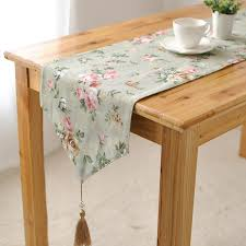 shabby chic table runner canvas shabby chic green rose rustic home decor table runner 4 size