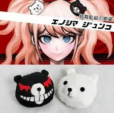 anime hair accessories dangan ronpa danganronpa junko enoshima mono kuma mono white black