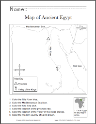 ancient egypt map worksheet for kids student handouts