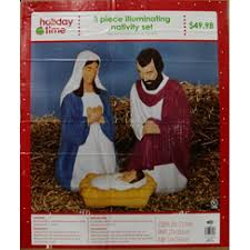 Nativity Sets Outdoor Plastic Lighted Light Up 3 Piece Nativity Set Walmart Com