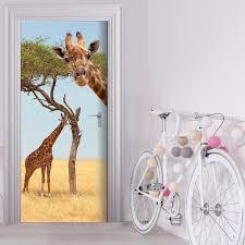 home decor giraffe free shipping 3d forest giraffe door wall stickers bedroom home