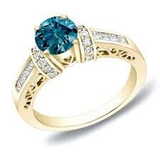 Blue Diamond Wedding Rings by Eloquence 14k Yellow Gold 9 10ct Tdw Stunning Blue Diamond Ring