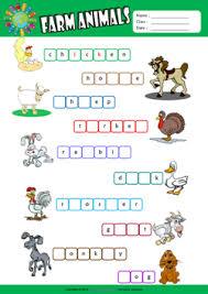 farm animals esl printable worksheets for kids 2