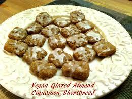 vegan christmas cookies glazed almond cinnamon shortbread