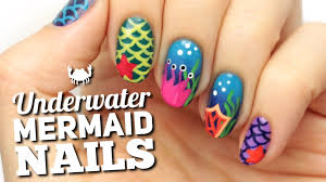 mermaid u0026 ocean nail art design youtube