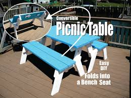 Diy Collapsible Picnic Table by Diy Convertible Picnic Table That Folds Into Bench Seats Youtube