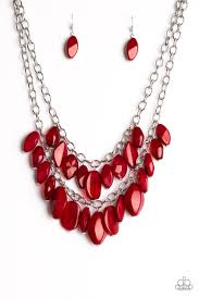 red necklace jewelry images Paparazzi royal retreat red bead silver chain 2018 convention jpg