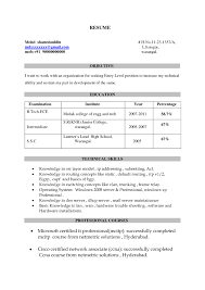 Sample Resume Formats For Freshers by Resume Format For Ccna Freshers It Resume Cover Letter Sample