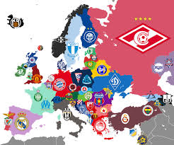 World Map Of Europe by Map Of Clubs In Europe With Most League Titles For Each Country