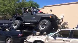 cars jeep wrangler my 1998 tj jeep wrangler crushing some cars 2014 car crush youtube