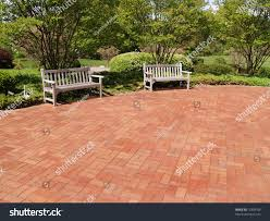 two empty wood benches by red stock photo 12309706 shutterstock