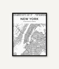 Wall Map Of New York City by New York City Map Print Map Of New York Black And White New